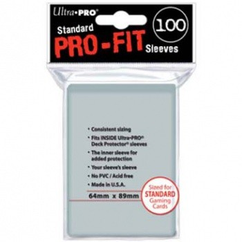 Ultra Pro - Standard Sleeves - Pro-Fit Card Clear (100 Sleeves)